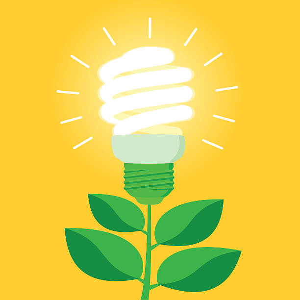 green energy efficient cfl light bulb - energy saving stock illustrations, clip art, cartoons, & icons