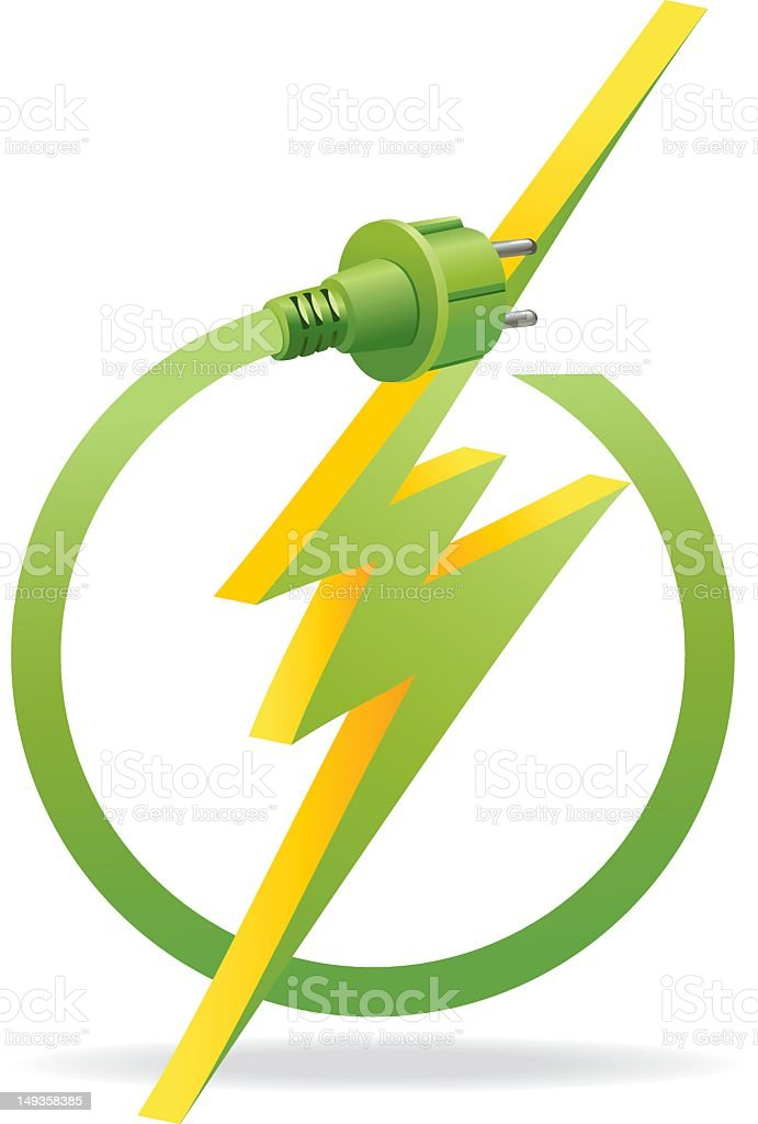 Green Energy Europe Icon with Electrical Plug and Zig-zag Lightning royalty-free stock vector art