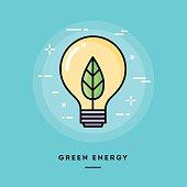 Green energy, flat design thin line banner