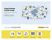 Flat line design of web banner template with outline icons of clean technology for green energy, saving planet, ecology care living. Modern vector illustration concept for website or infographics.