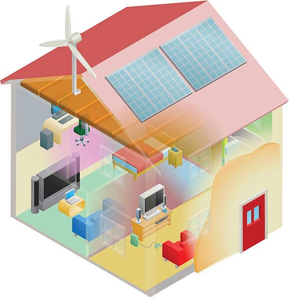 grüne energie-haus - dachboden stock-grafiken, -clipart, -cartoons und -symbole