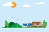 green energy house Wind powered electricity with solar panels