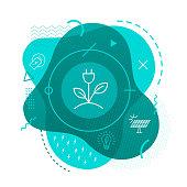 Green energy icon background