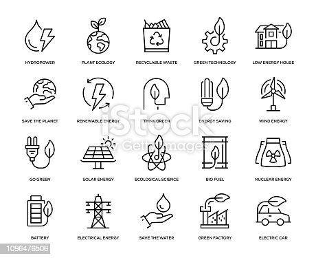 Green Energy Icon Set - Thin Line Series