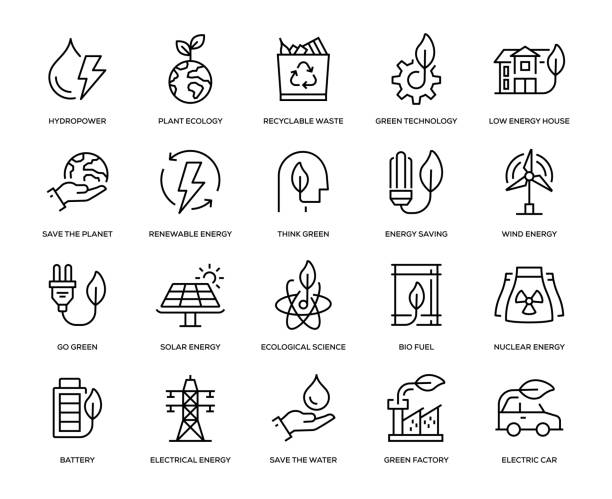 yeşil enerji icon set - elektrik stock illustrations