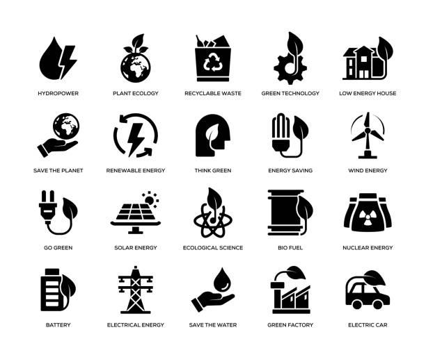 illustrazioni stock, clip art, cartoni animati e icone di tendenza di green energy icon set - sustainability icons