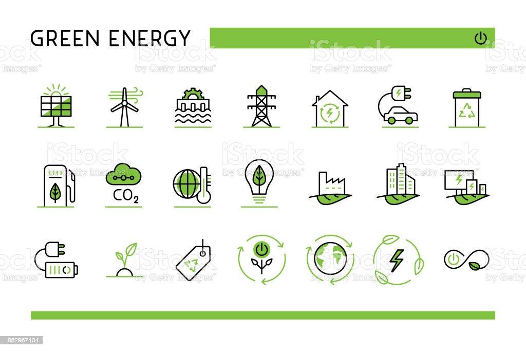 Green energy icon set vector art illustration