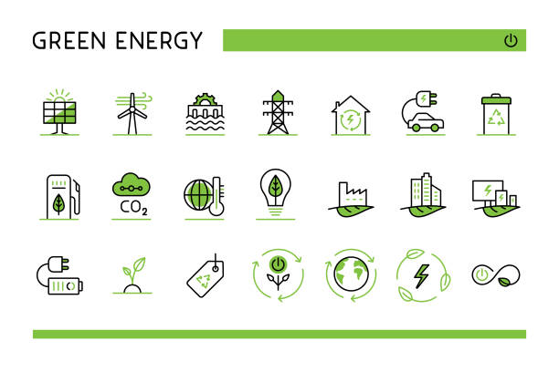 Green energy icon set Editable set of vector icons on layers. rechargeable battery stock illustrations