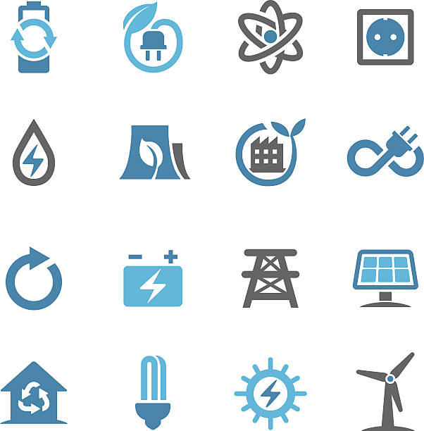 green energy icons - conc series - energy saving stock illustrations, clip art, cartoons, & icons