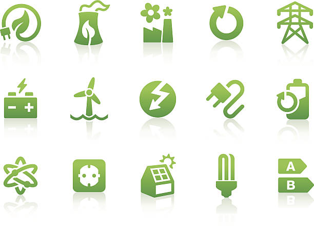 Green energy icons displayed in a white background Green energy related vector icons for your design or application.  energy efficient stock illustrations