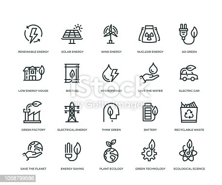 Green Energy Icons - Line Series