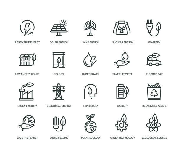 illustrazioni stock, clip art, cartoni animati e icone di tendenza di green energy icons - line series - sustainability icons