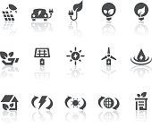 Green Energy Icons | Simple Black Series