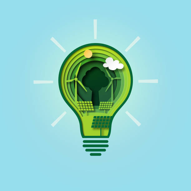 Green energy in light bulb paper cut style vector art illustration