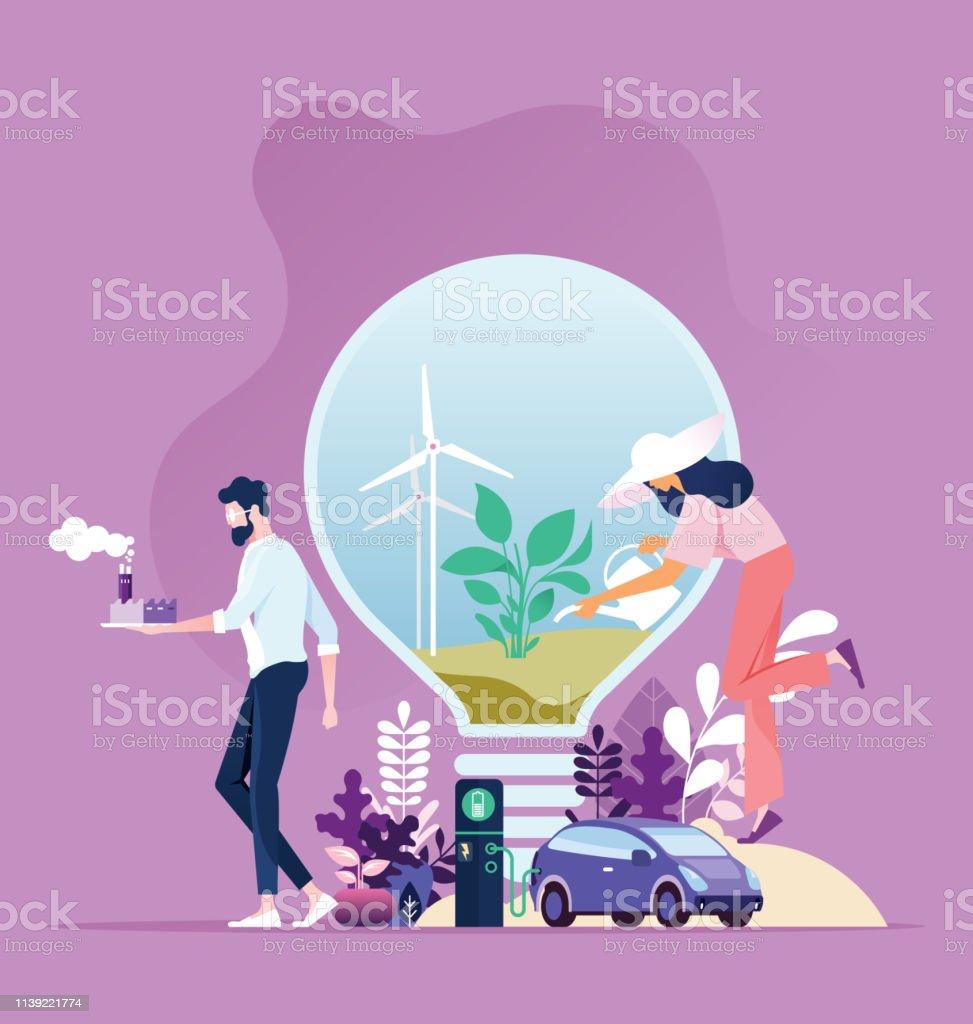 Énergie verte. Développement durable de l'industrie avec conservation de l'environnement - clipart vectoriel de Affaires internationales libre de droits
