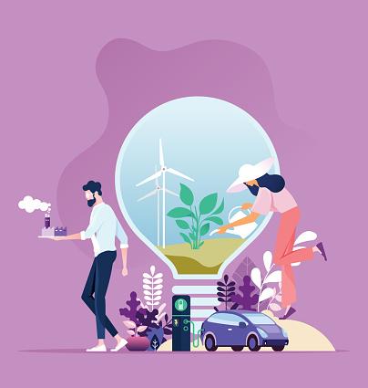 Énergie Verte Développement Durable De Lindustrie Avec Conservation De Lenvironnement Vecteurs libres de droits et plus d'images vectorielles de Affaires internationales
