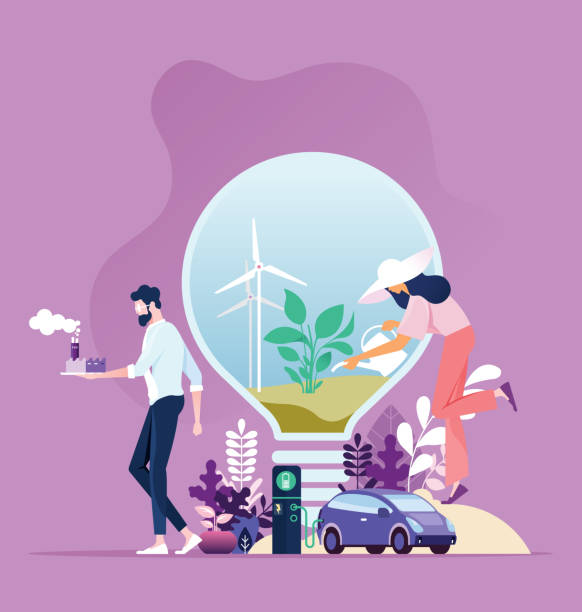 green energy. industry sustainable development with environmental conservation - в пути stock illustrations