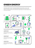 Green Energy Icons And Infographic Design Elements in Linear Style
