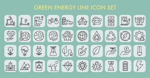 Green Energy Line Icon Set