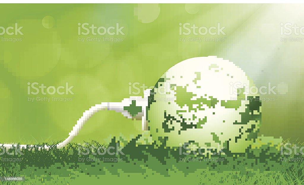 Green Energy Plug vector art illustration