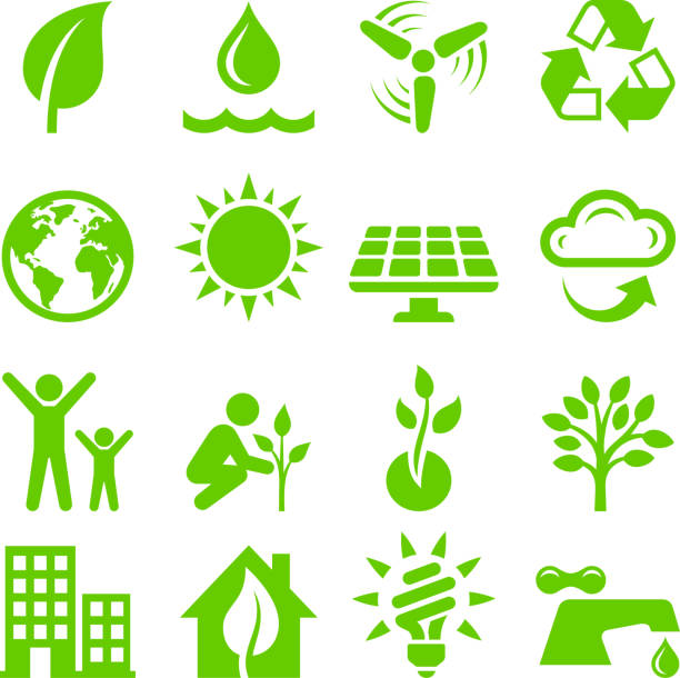 illustrazioni stock, clip art, cartoni animati e icone di tendenza di energia verde royalty-free interfaccia vettoriale icona set - sustainability icons
