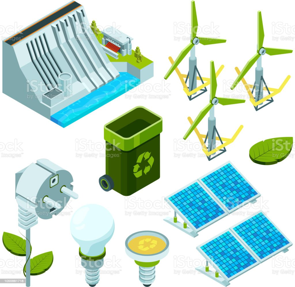 Green Energy Saving Factory Power Electric Hydro Turbines Ecosystem Circuit Schematic Symbols Various Technology 3d Isometric Vector