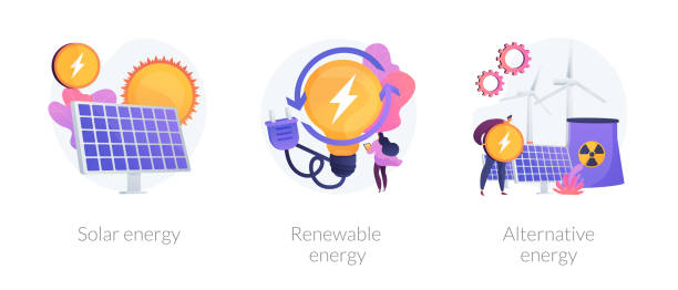 ilustrações, clipart, desenhos animados e ícones de tecnologias de energia verde vector metáforas conceito. - energia solar
