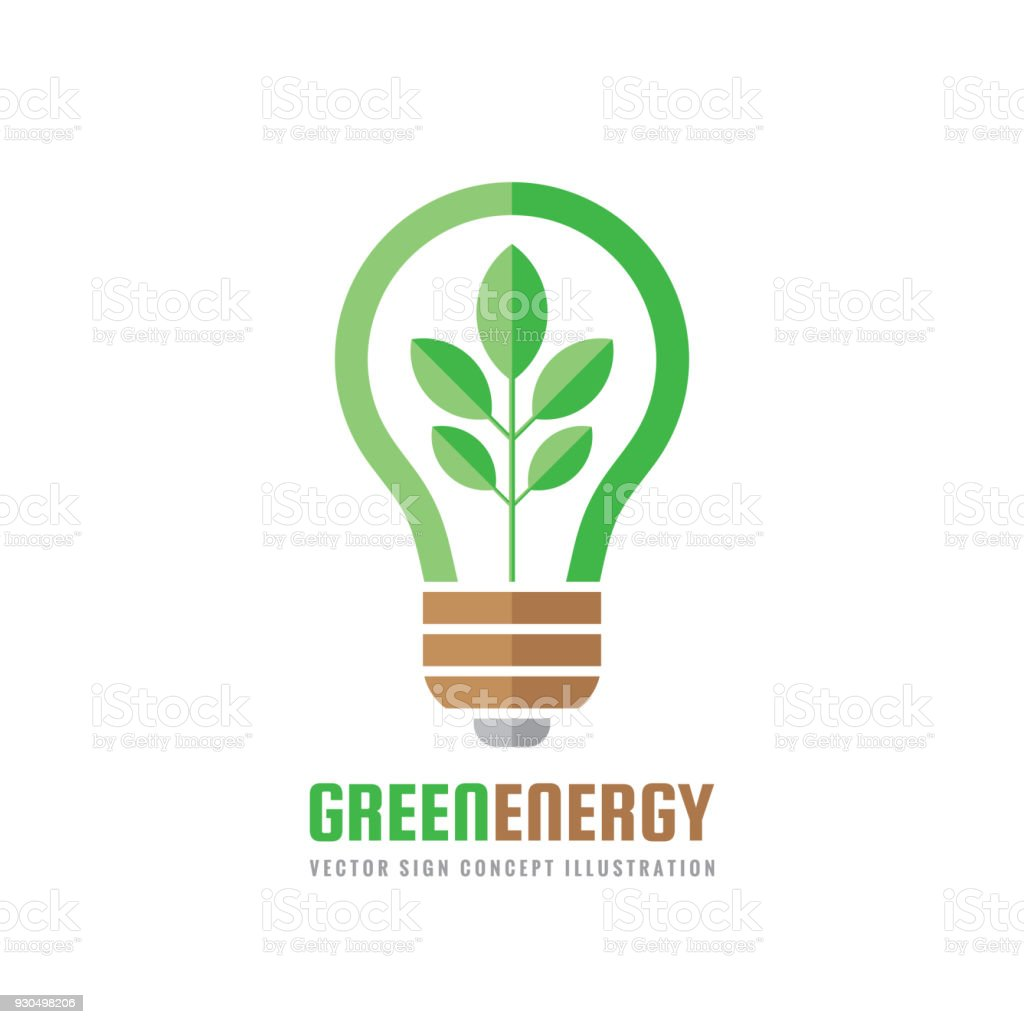 Green energy vector business sign template concept illustration in green energy vector business sign template concept illustration in flat style abstract lightbulb creative cheaphphosting Images