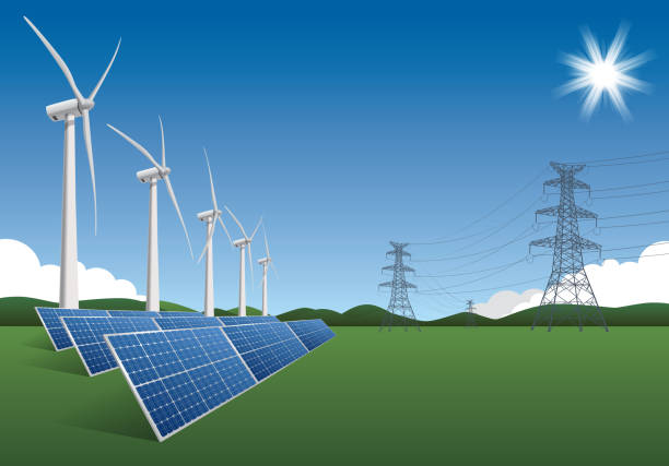 stockillustraties, clipart, cartoons en iconen met green energy - windmolen