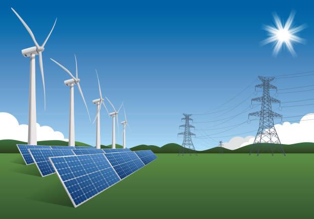 green energy - rüzgar değirmeni stock illustrations