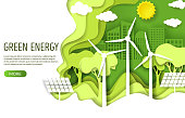 Green energy web banner template. Eco friendly green city with wind turbines and solar panels, vector illustration in paper art style. Save environment, alternative energy, ecology concept.