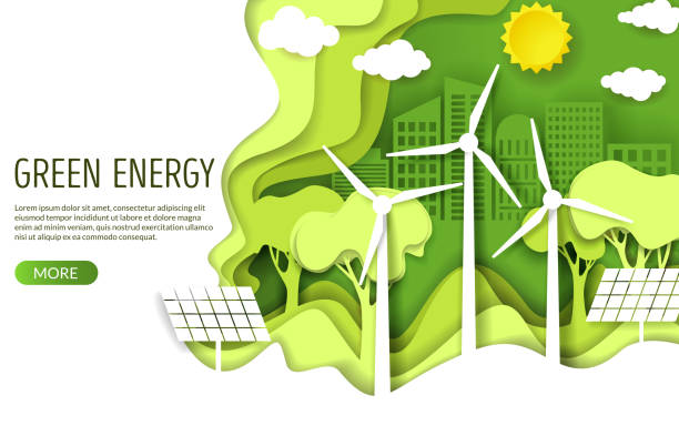 Green energy web banner template, vector paper cut illustration Green energy web banner template. Eco friendly green city with wind turbines and solar panels, vector illustration in paper art style. Save environment, alternative energy, ecology concept. environmental issues stock illustrations