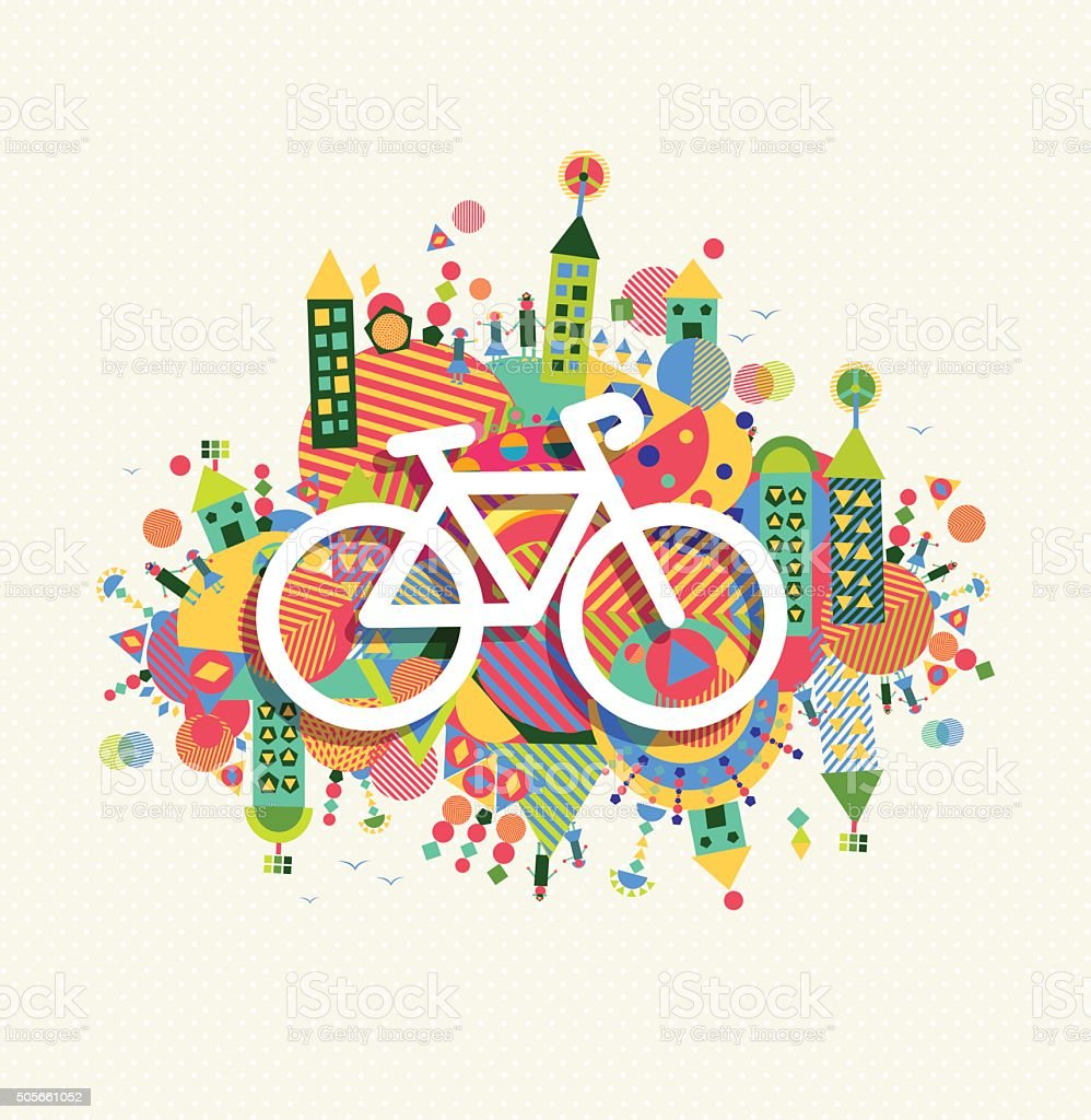 Green environment bike icon vibrant colors poster vector art illustration