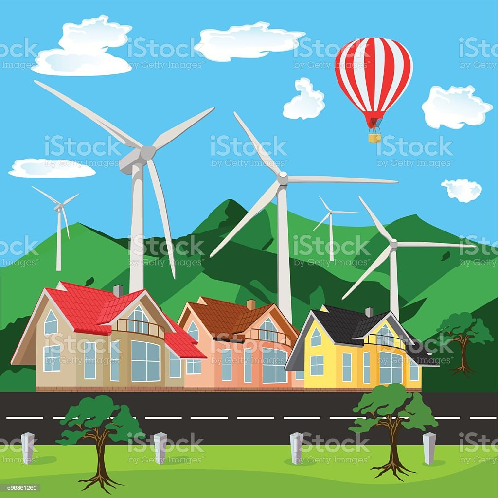 Green environment friendly city scene, flat style, vector illustration royalty-free green environment friendly city scene flat style vector illustration stock vector art & more images of clover