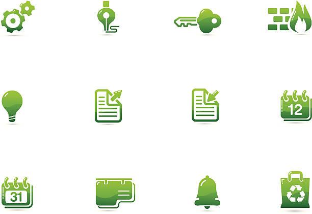 green environment icons | verde series - byteandpixel stock illustrations