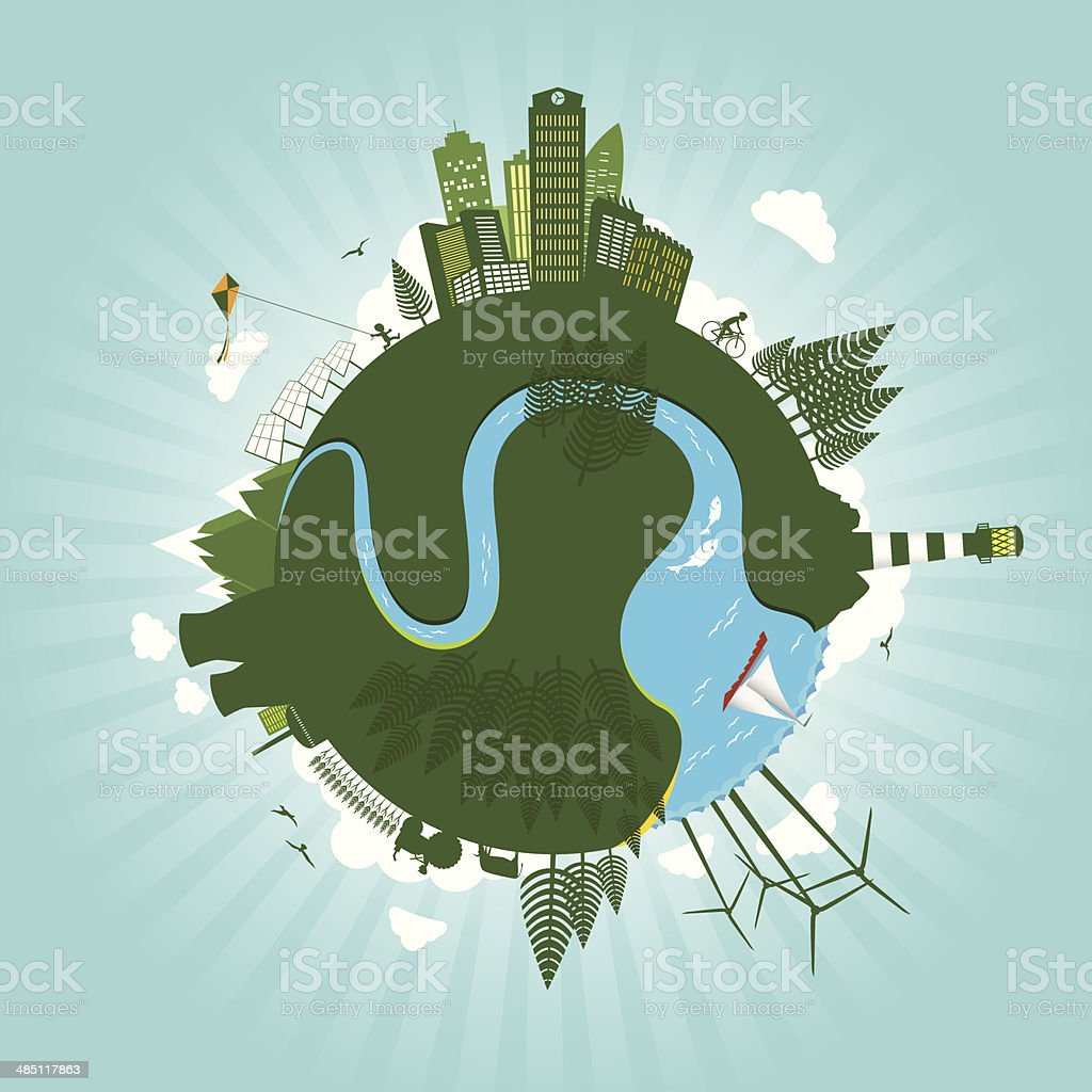 Green environment sustainable energy world concept vector art illustration