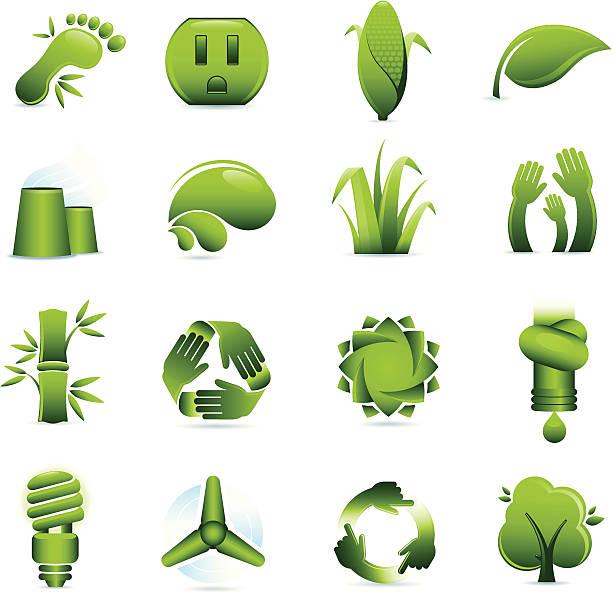 Green Environmental Conservation Icons vector art illustration