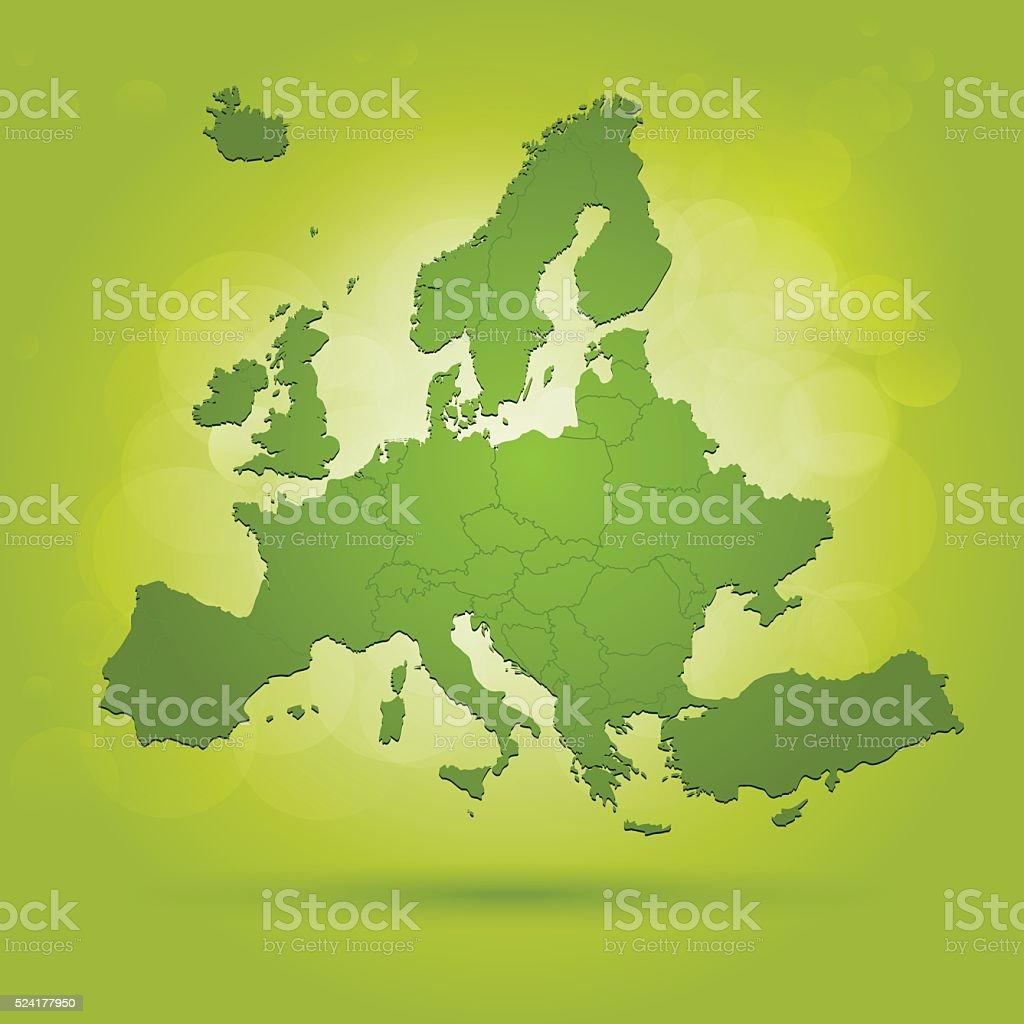 Verde Europa Mappa Su Sfondo Verde Acceso Immagini Vettoriali