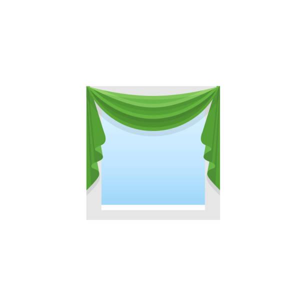 grüner stoffvorhang mit zentralen drapierung. profilkranz mit symmetrischen beute. vektor-illustration. flache ikone der blinden. ansicht von vorne. - swag stock-grafiken, -clipart, -cartoons und -symbole
