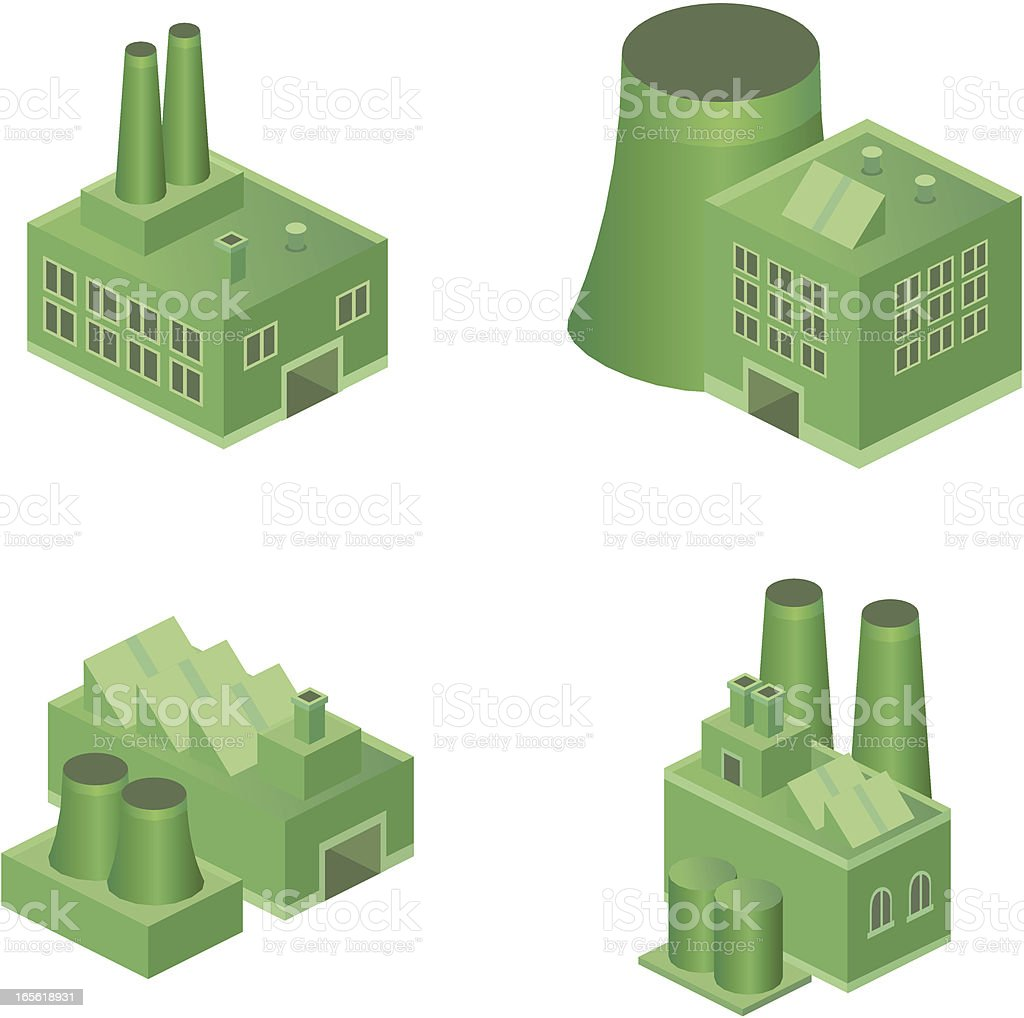 Green factories royalty-free green factories stock vector art & more images of architecture