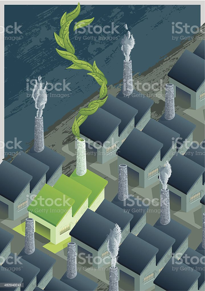 Green Factory in a Gray World royalty-free stock vector art