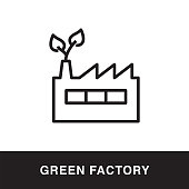 Green Factory Outline Icon Design