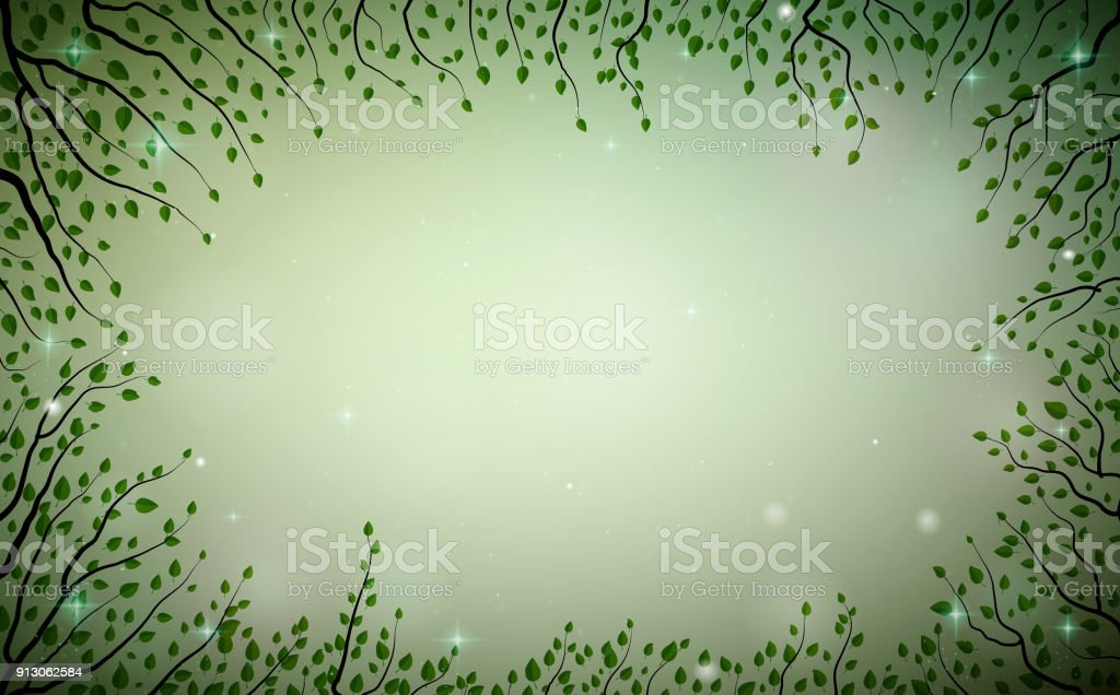 green fairy plant frame, fireflies in the summer dream background, fairy green tree branches, vector art illustration