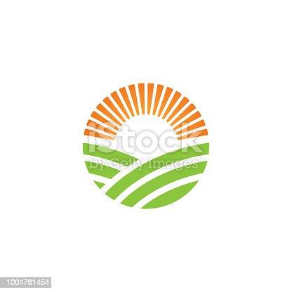 Green farm logo or alternative green energy logo design template