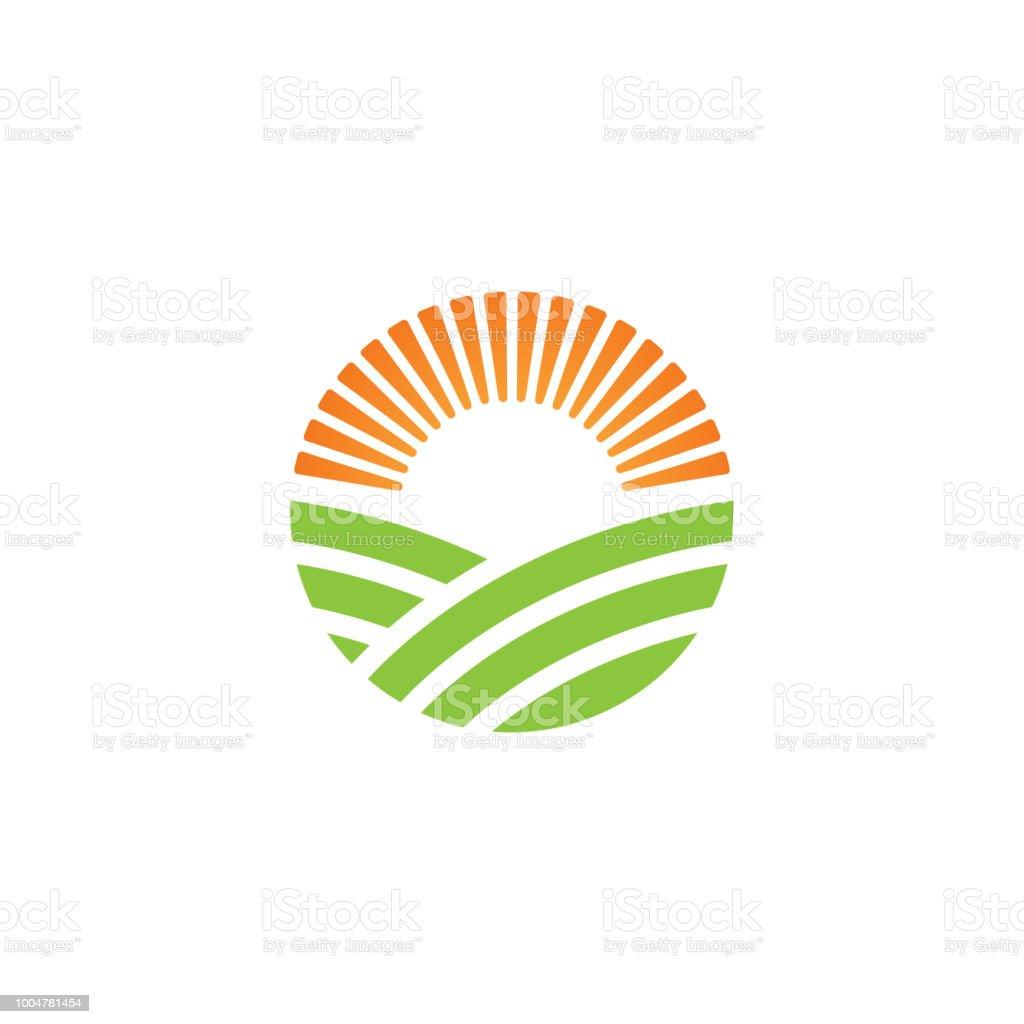 Ferme de vert logo ou autre énergie verte logo modèle de conception - Illustration vectorielle