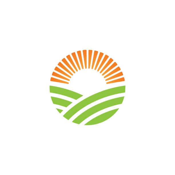 Green farm logo or alternative green energy logo design template Green farm logo or alternative green energy logo design template agricultural field stock illustrations