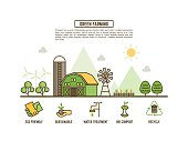 green farming concept for ecology web banner outline style