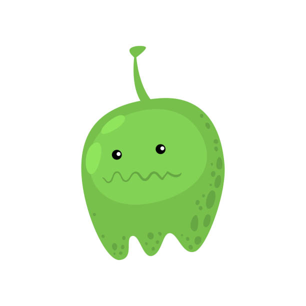 ilustrações de stock, clip art, desenhos animados e ícones de green fat viral or bacterial monster in microbiology against white - amiba