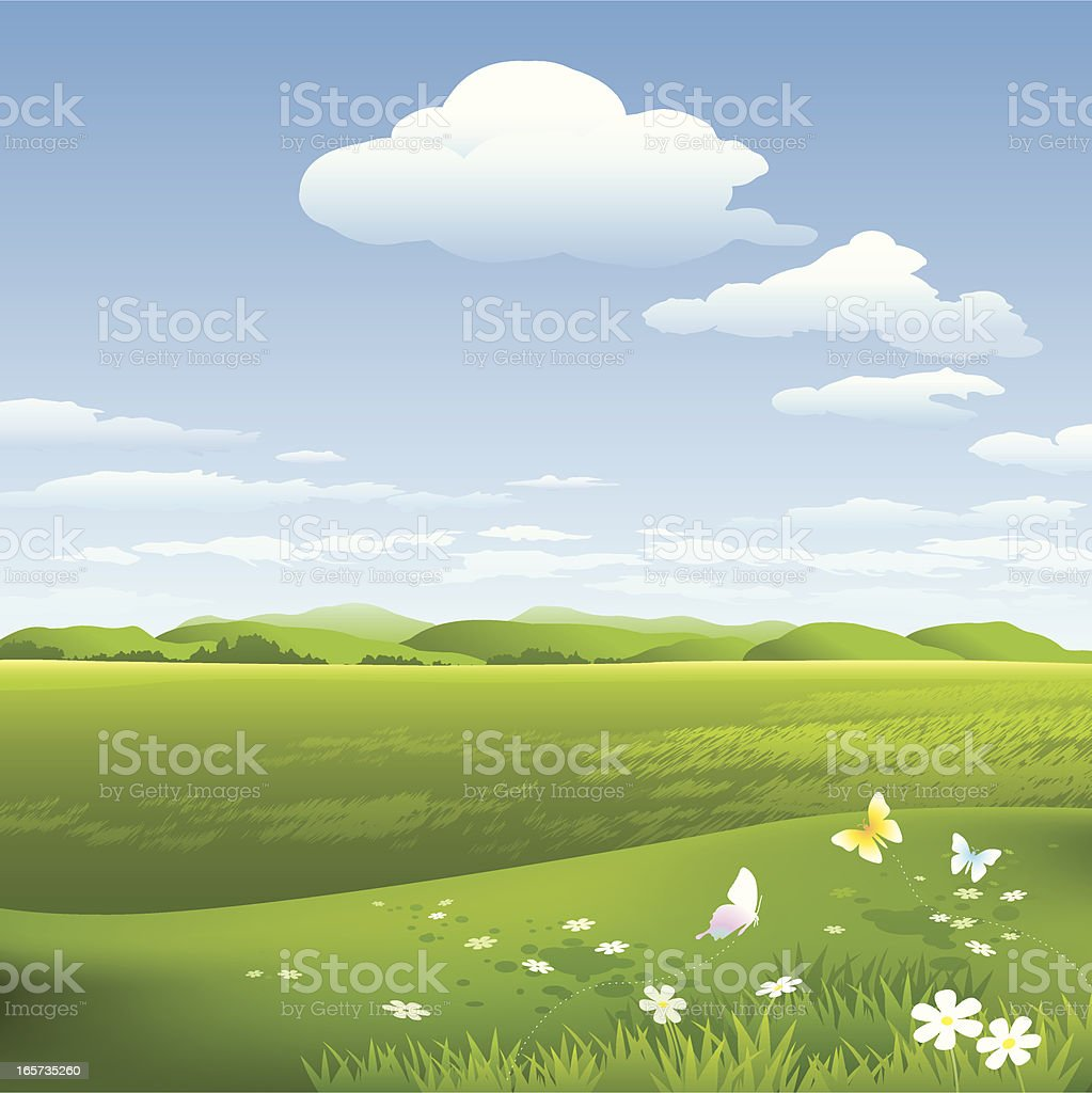 Green field and sky with clouds on royalty-free stock vector art