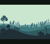 Green Field Environment, Vector Illustration.